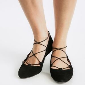NWOT Lucky Aivee Suede Lace Up Flats